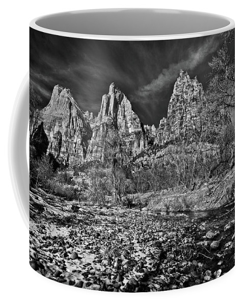 Art Coffee Mug featuring the photograph Court Of The Patriarchs II - Bw by Christopher Holmes