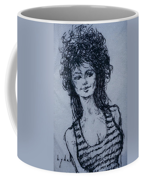 Sketch Coffee Mug featuring the painting Cove Girl With Striped Shirt by Les Lyden