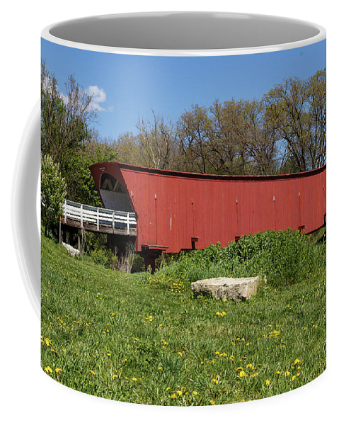 Landscape Coffee Mug featuring the photograph Covered Bridge Across The River by Terri Morris