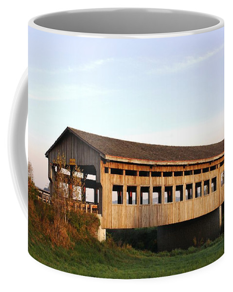 Covered Bridge Coffee Mug featuring the photograph Covered Bridge To Rockwood by Bruce Bley