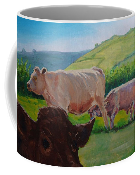 Mike Coffee Mug featuring the painting Cow And Calf Painting by Mike Jory