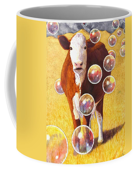 Cow Coffee Mug featuring the painting Cow Bubbles by Catherine G McElroy