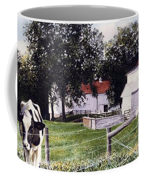 Cows Coffee Mug featuring the painting Cow Spotting by Denny Bond