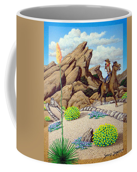 Cowboy Coffee Mug featuring the painting Cowboy Concerns by Snake Jagger