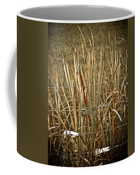 Americana Coffee Mug featuring the photograph Cowboy Fence by Marilyn Hunt