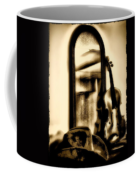Cowboy Hat Coffee Mug featuring the photograph Cowboy Hat And Fiddle by Bill Cannon