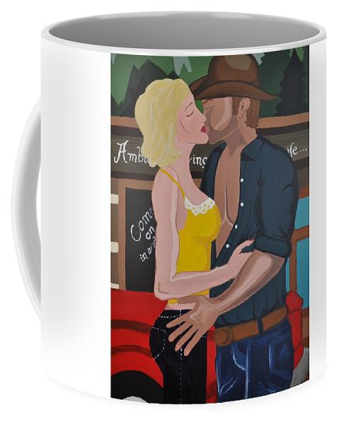 Kiss Coffee Mug featuring the painting Cowboy Kiss by Jennifer Klotz