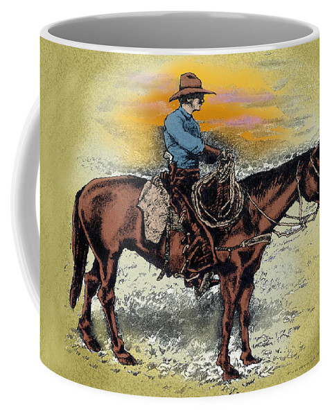 Cowboy Coffee Mug featuring the painting Cowboy N Sunset by Kevin Middleton