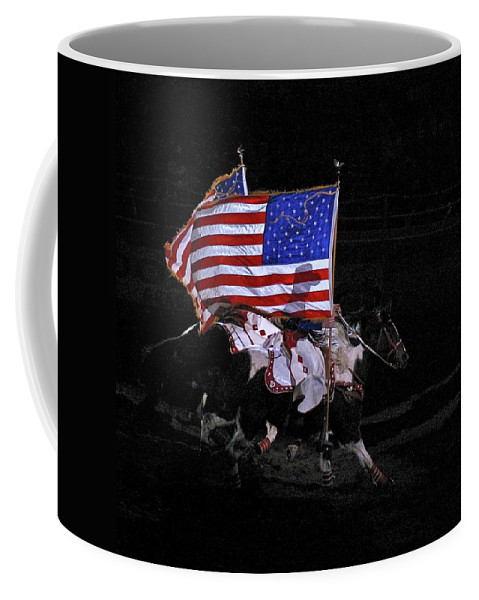 U.s. Flag Coffee Mug featuring the photograph Cowboy Patriots by Ron White