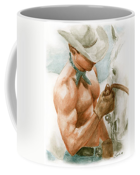 Cowboy Art Bruce Lennon Coffee Mug featuring the painting Cowboy Watercolor by Bruce Lennon