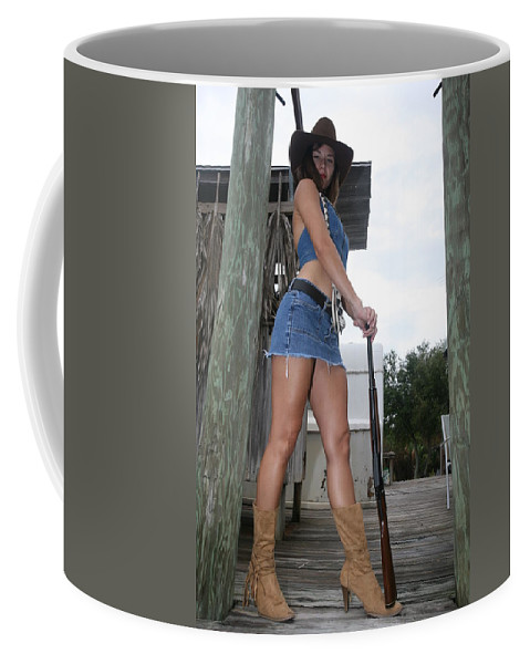 Everglades City Fl.professional Photographer Lucky Cole  Everglades City Photographer Lucky Cole Everglades City Glamour  Everglades City Beauty Everglades City Fl.photographer Lucky Cole  Angels Sexy Exotic Natural Beauty Glamorous Environmental Portraits Female Natural Settings  Exotic Beauty Wildlife  Everglades City Florida  Naples Florida Professional Photographer Lucky Cole Loop Road Coffee Mug featuring the photograph Cowgirl 023 by Lucky Cole
