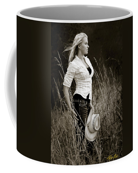 Models Coffee Mug featuring the photograph Cowgirl by Rikk Flohr