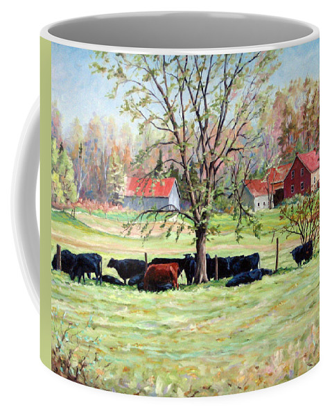 Cows Coffee Mug featuring the painting Cows Grazing In One Field by Richard T Pranke