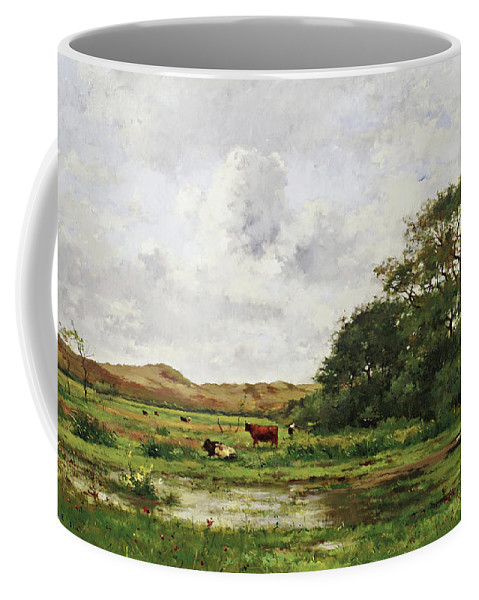 Pierre Emmanuel Eugene Damoye Coffee Mug featuring the painting Cows In A Meadow by Pierre Emmanuel Eugene Damoye