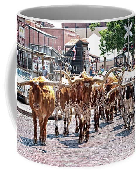 Fort Worth Coffee Mug featuring the photograph Cowtown Stockyards by Renee Hong