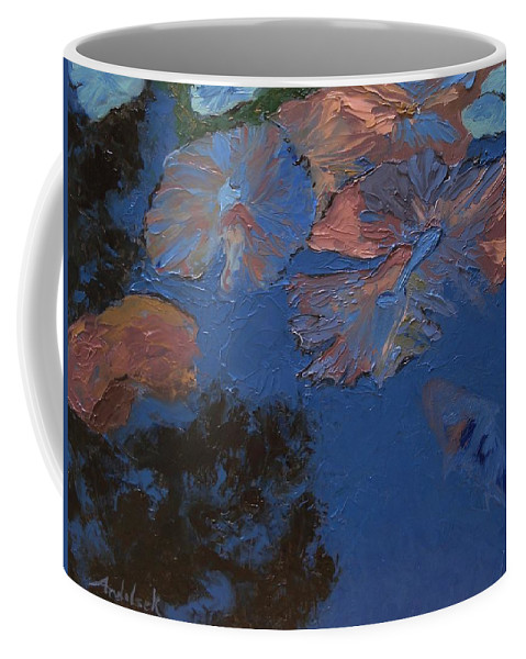 Floral Coffee Mug featuring the painting Coy Koi by Barbara Andolsek
