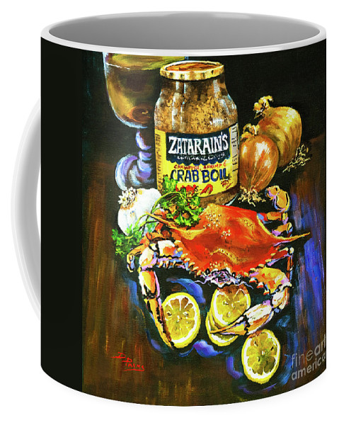 New Orleans Coffee Mug featuring the painting Crab Fixin's by Dianne Parks