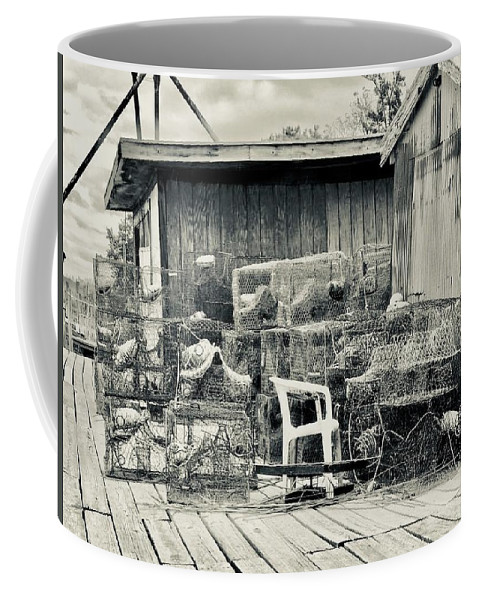 Crab Pot Coffee Mug featuring the photograph Crab Pots by Debra Cutchins