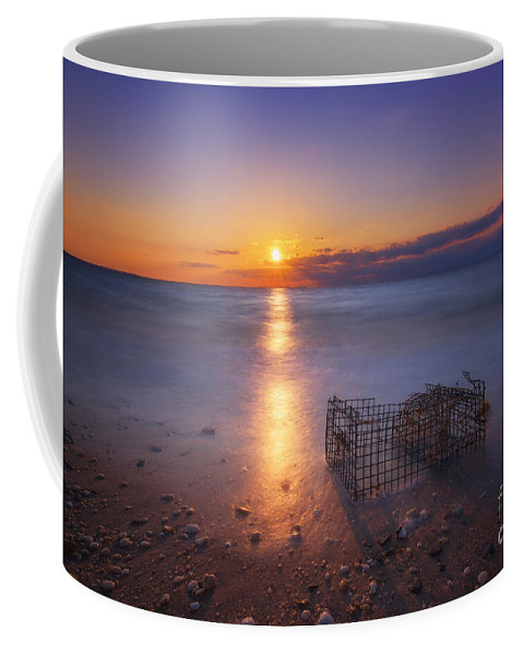 Sandy Hook Coffee Mug featuring the photograph Crab Trap Sunset Le by Michael Ver Sprill