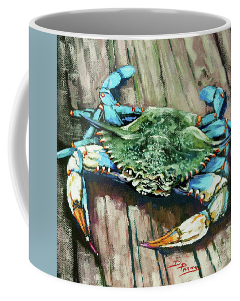 New Orleans Art Coffee Mug featuring the painting Crabby Blue by Dianne Parks