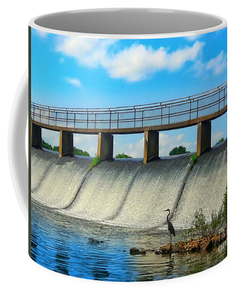 Wildlife Coffee Mug featuring the photograph Crane Peering At Shimmering Falls by PrettTea Art Gallery By Teaya Simms