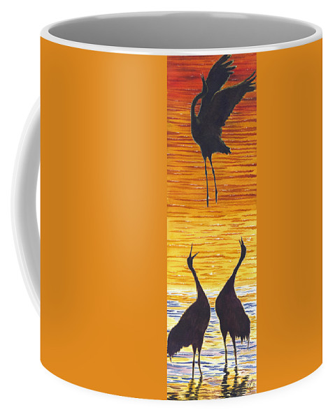 Crane Coffee Mug featuring the painting Crania by Catherine G McElroy