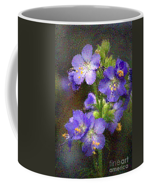Flowers Coffee Mug featuring the photograph Craquelure On Blue by Deborah Benoit