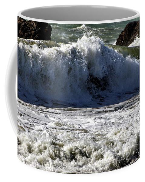 Seascape Coffee Mug featuring the photograph Crashing Waves At Goat Rock by Richard Thomas