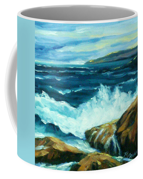 Sea Coffee Mug featuring the painting Crashing Waves by Richard T Pranke