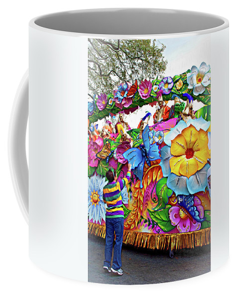 New Orleans Coffee Mug featuring the photograph Craving Mardi Gras Beads - Tiptoe Pleading Technique - Vignette by Steve Harrington