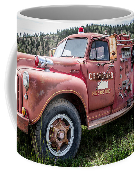 Firetruck Coffee Mug featuring the photograph Crawford Fire Truck by Lynn Sprowl