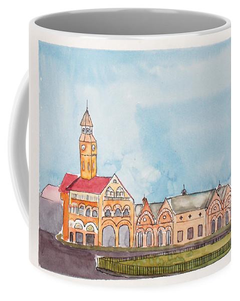 Landmark Coffee Mug featuring the painting Crawford Market Mumbai by Keshava Shukla