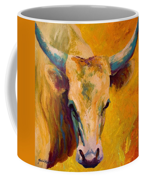 Longhorn Coffee Mug featuring the painting Creamy Texan - Longhorn by Marion Rose