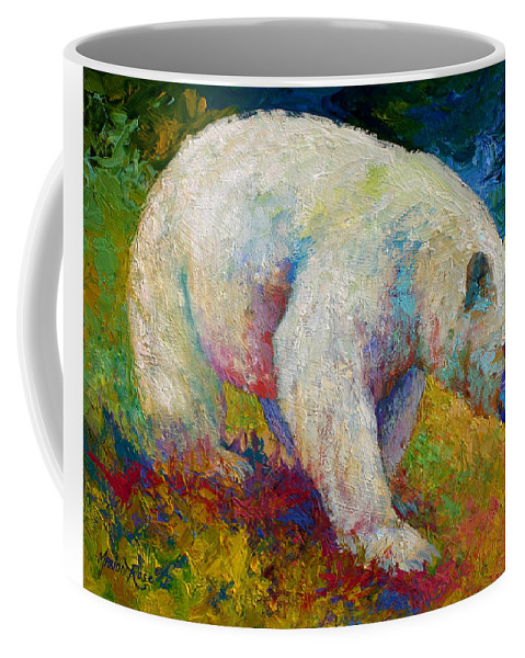 Western Coffee Mug featuring the painting Creamy Vanilla - Kermode Spirit Bear Of Bc by Marion Rose