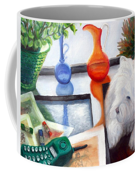 Dog Coffee Mug featuring the painting Creative Reflections by Minaz Jantz