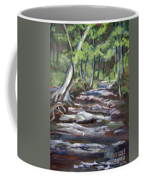 Creek Coffee Mug featuring the painting Creek In The Park by Janet Felts