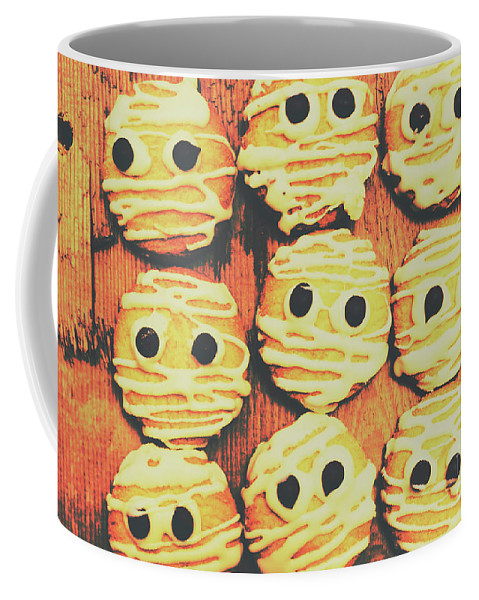 Sweet Coffee Mug featuring the photograph Creepy And Kooky Mummified Cookies by Jorgo Photography - Wall Art Gallery