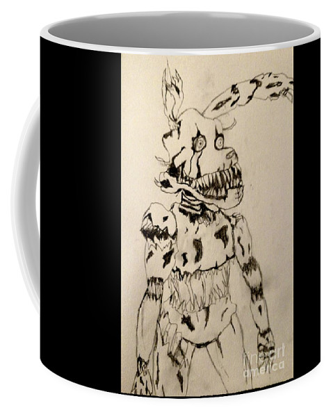 Creepy Coffee Mug featuring the drawing Creepy Animatronic Puppet by Shylee Charlton