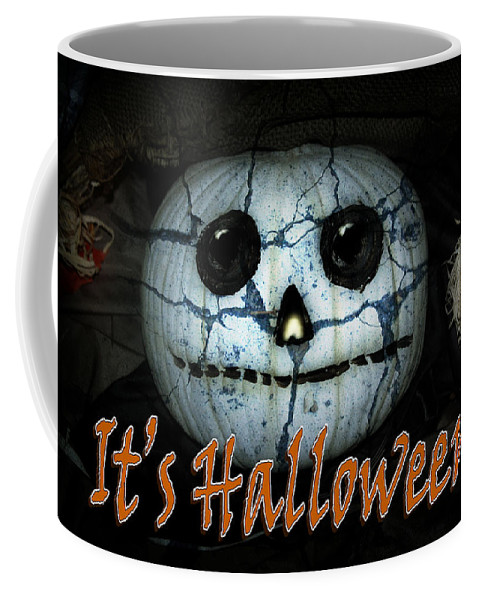 Halloween Coffee Mug featuring the mixed media Creepy Halloween Pumpkin by Gravityx9 Designs