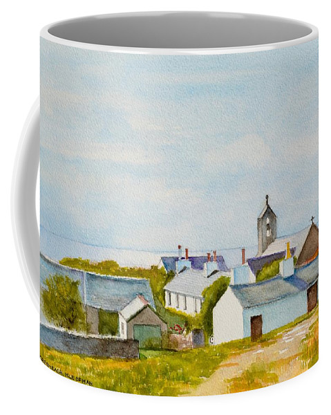 Island Coffee Mug featuring the painting Cregneash And St Peters Church by Dai Wynn