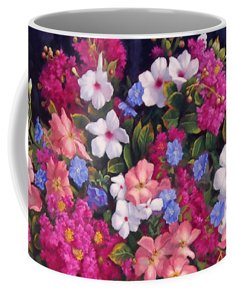 Roses Coffee Mug featuring the painting Crepe Myrtle And Roses by Johanna Girard