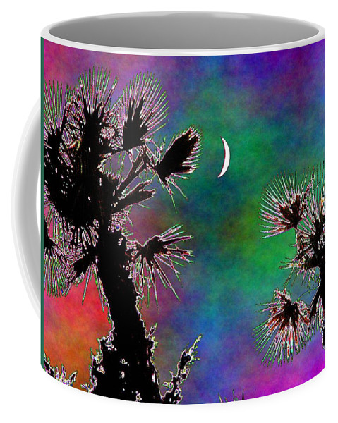 Moon Coffee Mug featuring the photograph Crescent And Palms 2 by Tim Allen