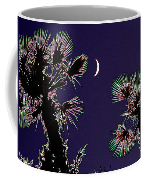 Moon Coffee Mug featuring the photograph Crescent And Palms by Tim Allen