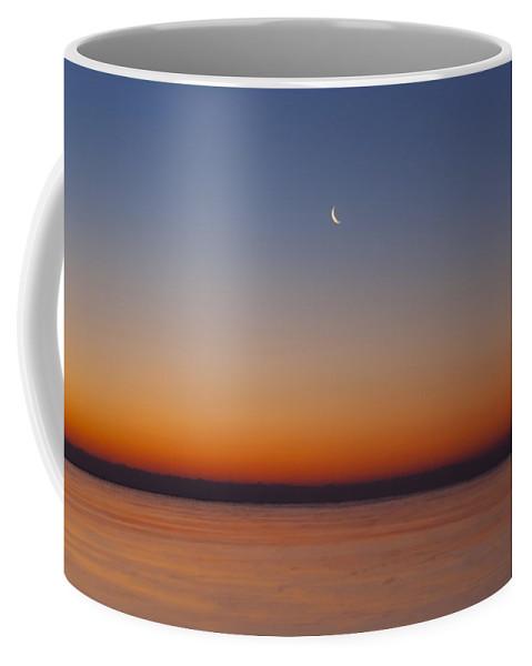Crescent Moon Coffee Mug featuring the photograph Crescent Moon Dawn Closer by Sven Brogren