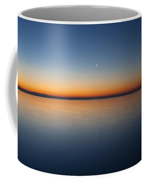 Moon Coffee Mug featuring the photograph Crescent Moon Dawn by Sven Brogren
