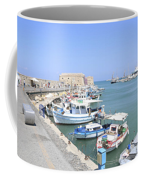 Heraklion Coffee Mug featuring the photograph Crete Island Harbour by Lilach Weiss