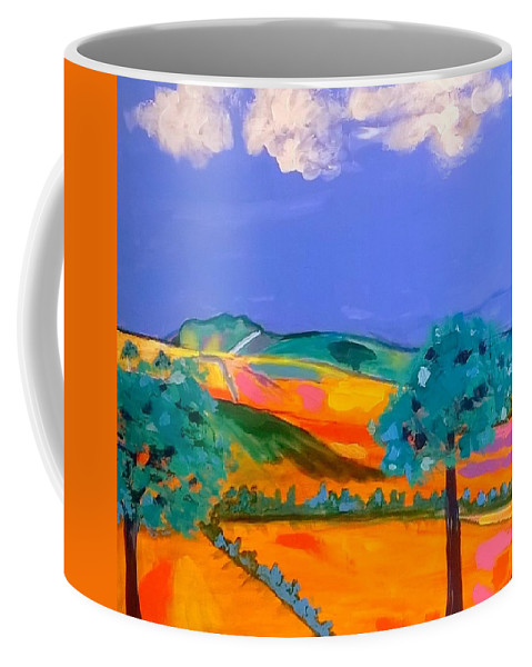 Wales Coffee Mug featuring the painting Cribarth The Sleeping Giant by Rusty Gladdish