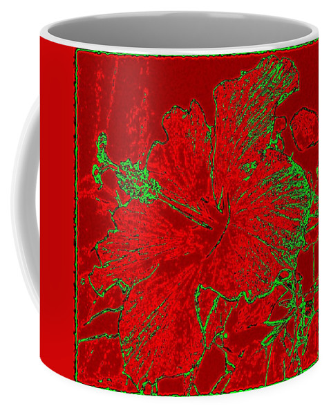 Abstract Coffee Mug featuring the digital art Crimson Hibiscus by Will Borden