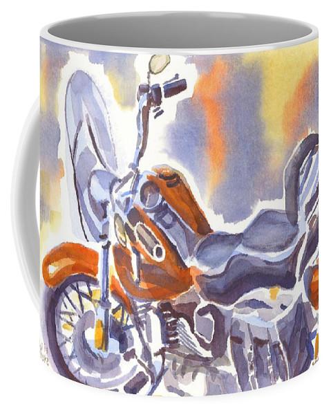 Crimson Motorcycle In Watercolor Coffee Mug featuring the painting Crimson Motorcycle in Watercolor by Kip DeVore