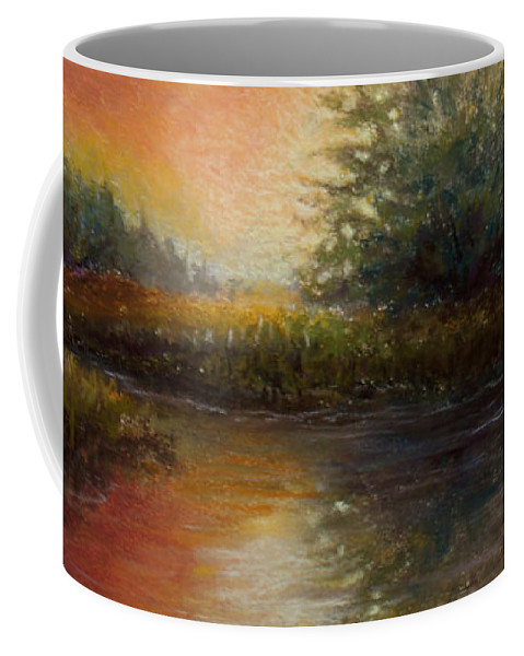 Landscape Coffee Mug featuring the painting Crimson Sunset by Susan Jenkins